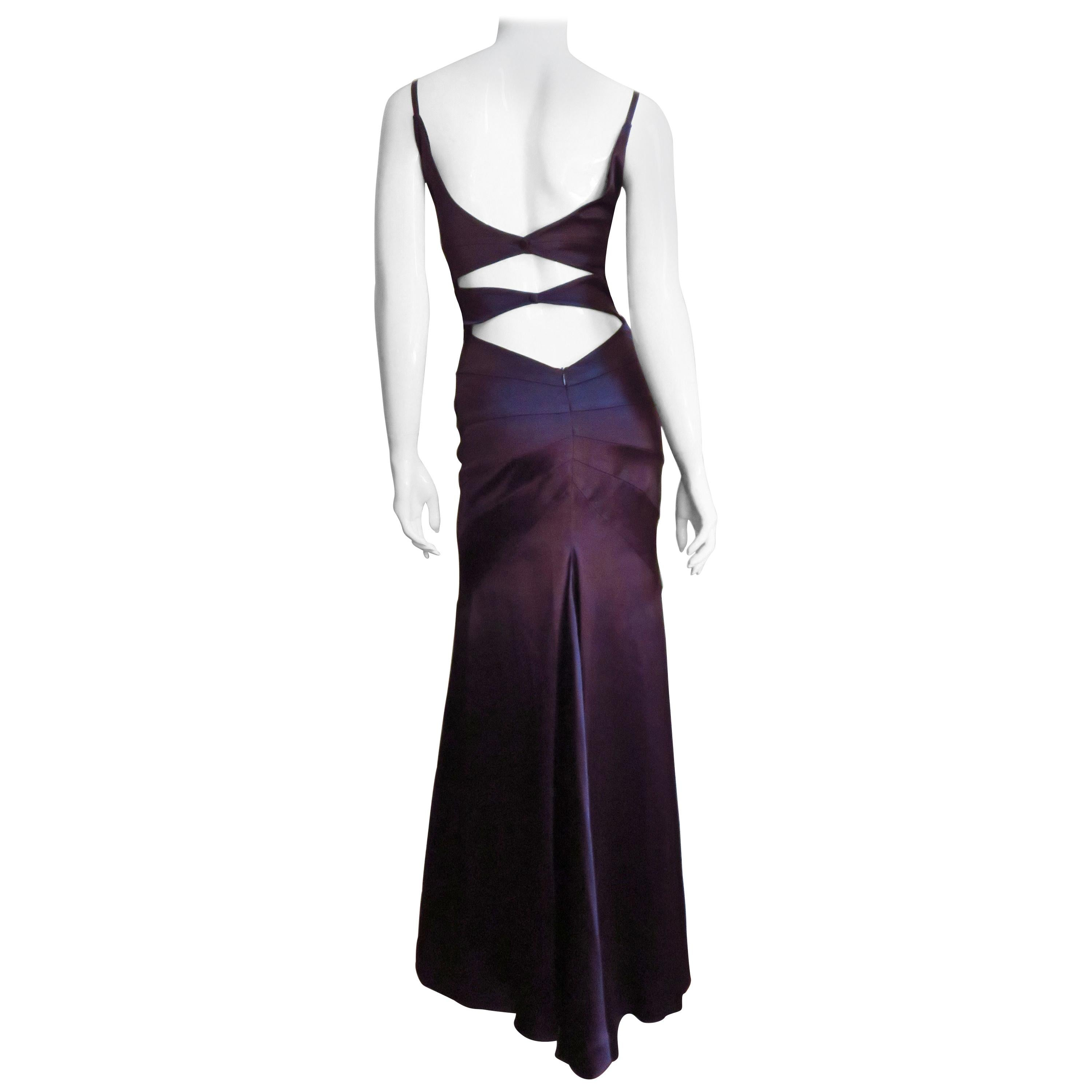 Sophie Sitbon Purple Gown with Back Cut outs