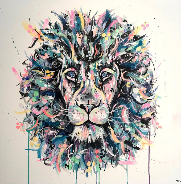 Sophie Tea Lion Original Abstract Animal Painting For Sale