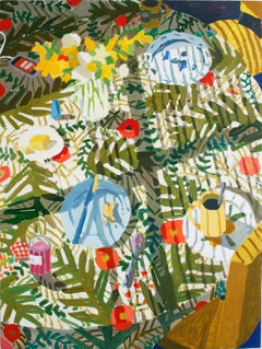 Breakfast on 27th, Vertical Still Life with Botanical Pattern, Yellow and Green