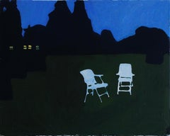 Chairs in Chief Michigan, Blue, Green Night Landscape Painting, Lawn and House