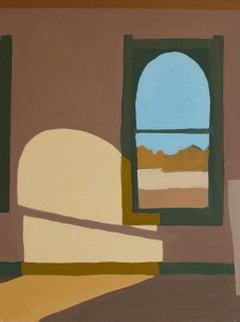 Corsicana Third Floor, Brown Interior with Shadows, Window, Blue Sky Landscape