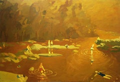 Gold James, Swimmers in River, Summer Landscape in Golden Brown, Greens, Yellow