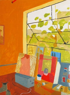Gold Studio Window, Interior with Still Life, Paintings in Orange, Red, Yellow