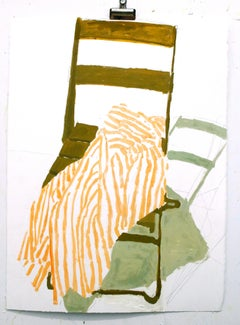 Green Chair Yellow Stripes, Still Life with Folding Chair, Yellow Striped Shirt