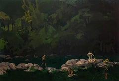 James at Dusk, Swimmers in River at Night Evening Landscape in Browns and Greens