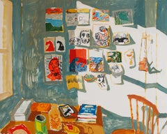 Maddie's Wall, Interior with Window, Paintings, Still Life, Table, Wooden Chair