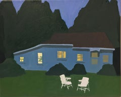 Night Cabin in Chief, Landscape Painting, Lawn Chairs, House in Blue and Green