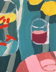 Oaxaca Study, Still Life Painting with Glass in Blue, White, Pink, and Yellow
