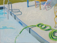 Salad Days, Hose, Landscape Painting with Pool and Hose in Soft Blue and Green