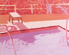 Salad Days, Pink, Landscape Painting with Pool and Hose in Lavender and Pink