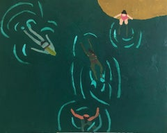 Swimming Hole, Swimmers in Lake, Summer Landscape in Blue, Teal, Mustard, Pink
