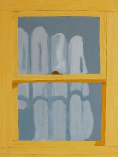 Yellow Window in Corsicana, Painting of Window, Blue Gray Curtain and Shadows