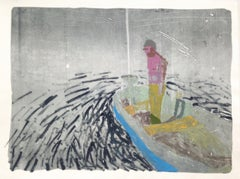 Night Boat, Monotype with Man in Pink Standing in Boat in Water at Nighttime