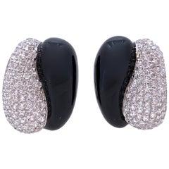 Sophisticated Half Black Enamel Half Pave Sterling Silver Clip-on Earrings
