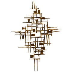 Sophisticated Abstract Mid-Century Modern Brass Wall Sculpture