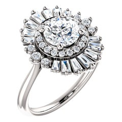 Sophisticated Baguette Halo Design Round Brilliant GIA Certified Engagement Ring