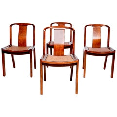 Sophisticated Baker Sculptural Walnut Wood Dining Chairs by Michael Taylor 1950s