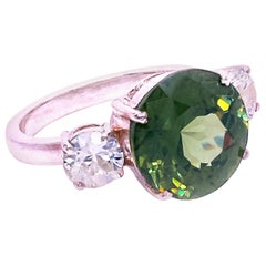 Gemjunky Sophisticated 'Big Deal' Green and White Zircon Cocktail Ring