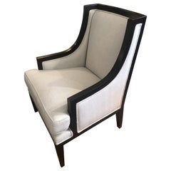 Sophisticated Black Laquer and Herringbone Club Chair