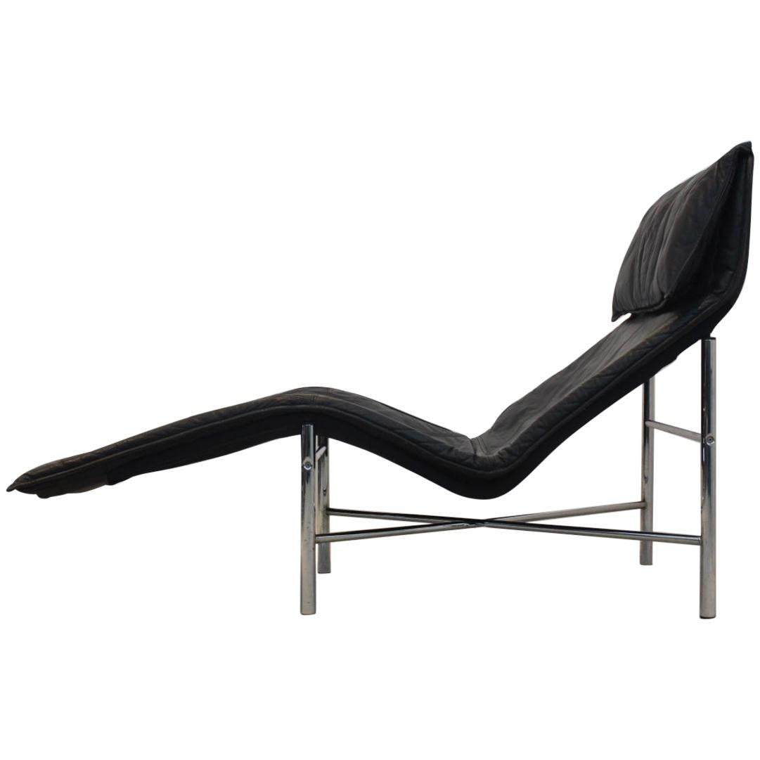 Sophisticated Black Leather 'Skye' Chaise Longue by Tord Björklund, Sweden 1970s