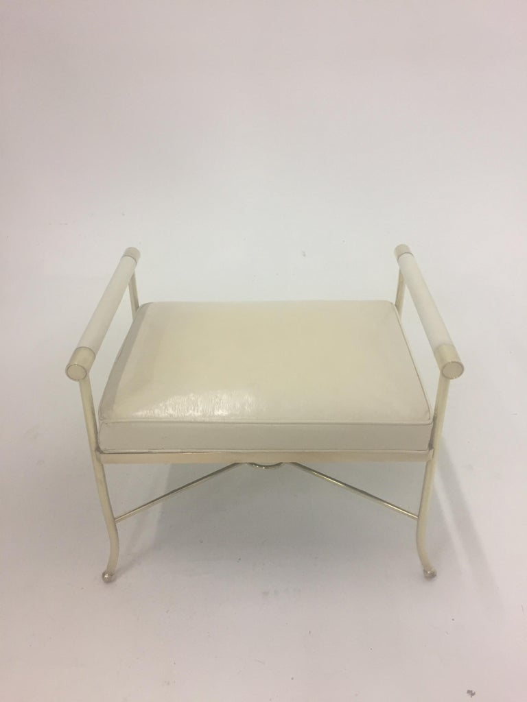 Mid-Century Modern Sophisticated Brass Bench with Creamy Off White Leather For Sale