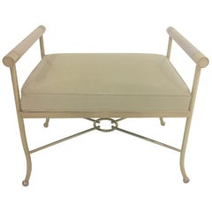 Sophisticated Brass Bench with Creamy Off White Leather