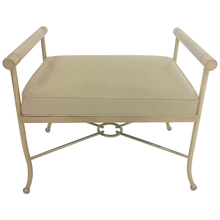 Sophisticated Brass Bench with Creamy Off White Leather For Sale