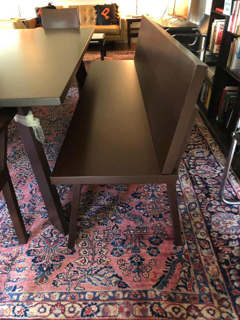 Walnut Sophisticated Bulthaup Dining Table with Two Benches and Two Armchairs For Sale