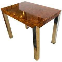 Sophisticated Burl and Chrome Side Table or Writing Desk
