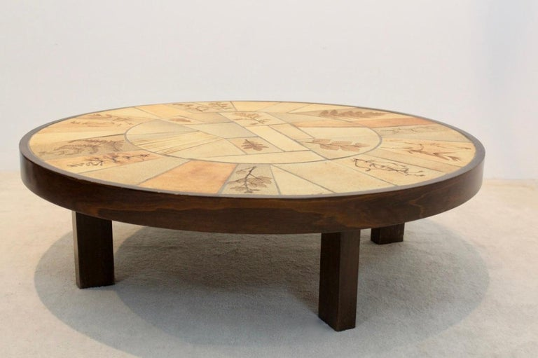Mid-Century Modern Sophisticated Ceramic Tiled and Oakwood Artwork Coffee Table by Roger Capron For Sale