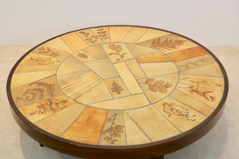 French Sophisticated Ceramic Tiled and Oakwood Artwork Coffee Table by Roger Capron For Sale
