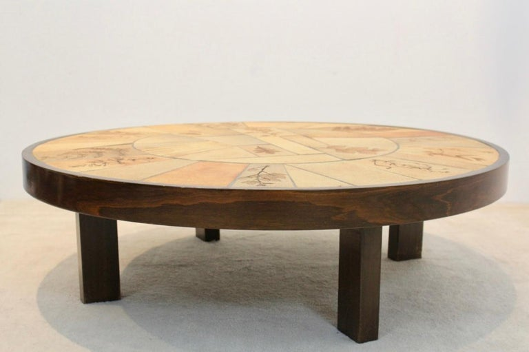 20th Century Sophisticated Ceramic Tiled and Oakwood Artwork Coffee Table by Roger Capron For Sale