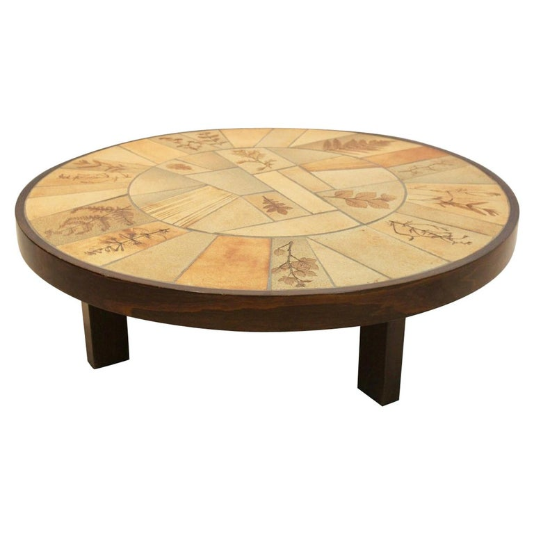 Sophisticated Ceramic Tiled and Oakwood Artwork Coffee Table by Roger Capron For Sale