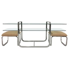 Sophisticated Chrome and Glass Two-Tier Console Table with Matching Benches