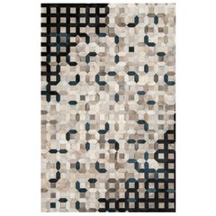 Sophisticated, Classic Trellis Black Cowhide Area Floor Rug Small