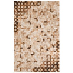 Natural Caramel Color Graphic Patterned Cowhide Area Floor Rug