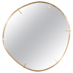 Sophisticated Custom Handmade Organic Modernist Mirror in Burnished Brass