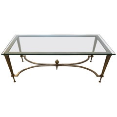 Sophisticated Directoire French Steel & Brass Rectangular Coffee Cocktail Table