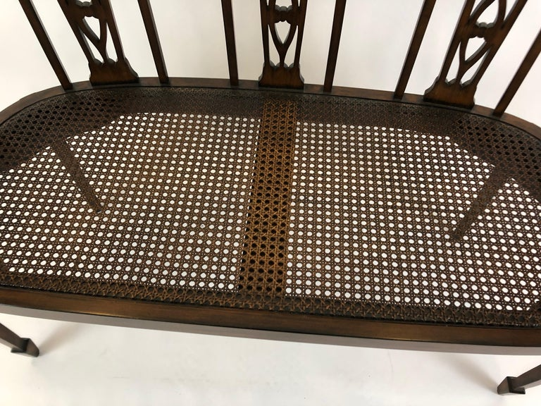 Sophisticated Elegance in a Curved Fruitwood Italian Loveseat Settee In Excellent Condition For Sale In Hopewell, NJ