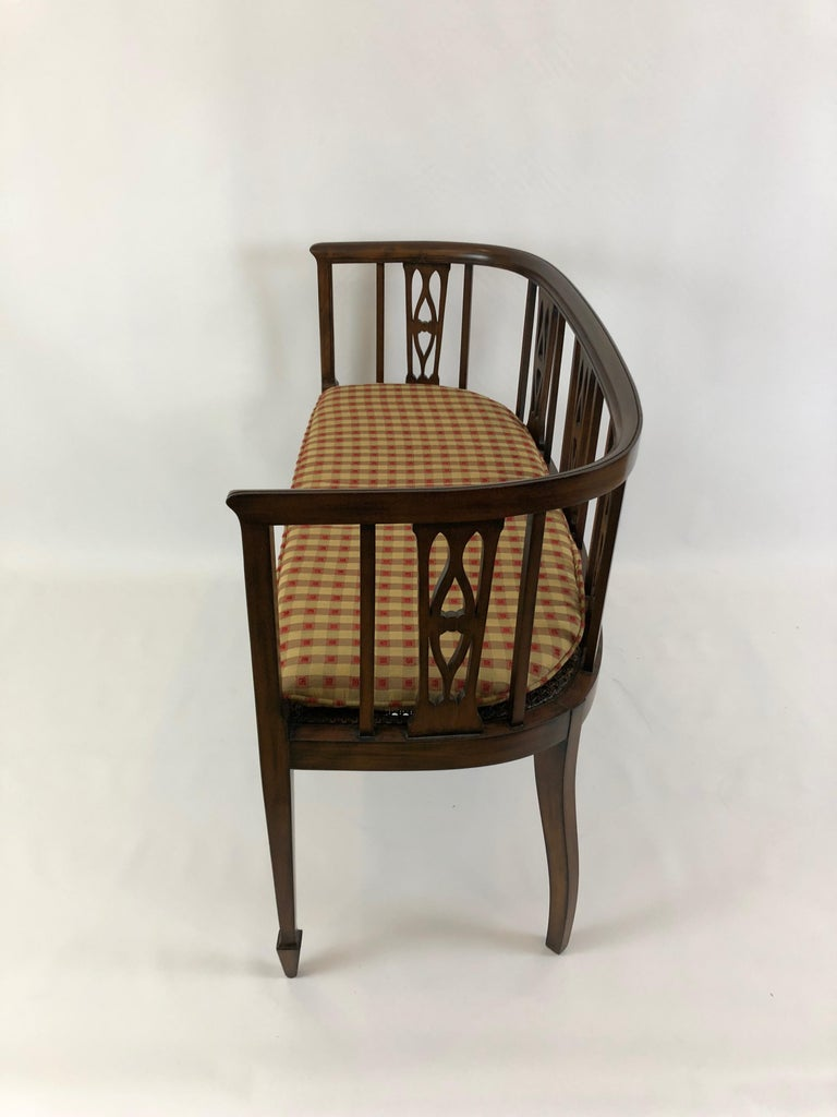 Mid-20th Century Sophisticated Elegance in a Curved Fruitwood Italian Loveseat Settee For Sale