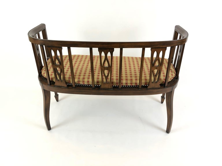 Sophisticated Elegance in a Curved Fruitwood Italian Loveseat Settee For Sale 2