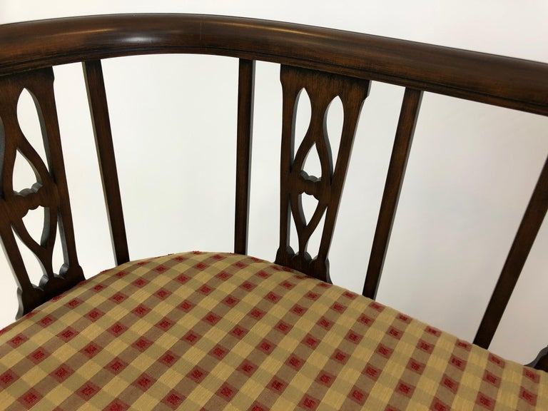 Sophisticated Elegance in a Curved Fruitwood Italian Loveseat Settee For Sale 3