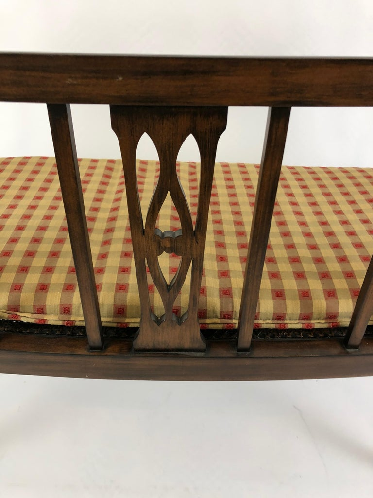 Sophisticated Elegance in a Curved Fruitwood Italian Loveseat Settee For Sale 4