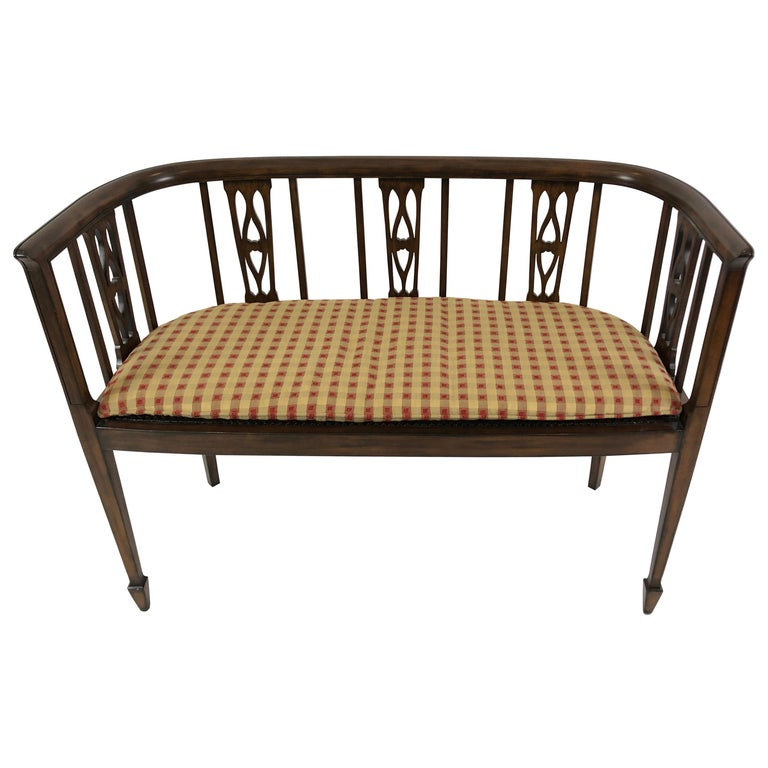 Sophisticated Elegance in a Curved Fruitwood Italian Loveseat Settee For Sale