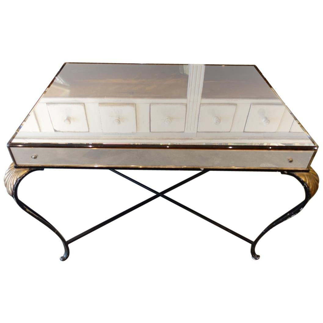 Sophisticated French 1940s Mirrored Table