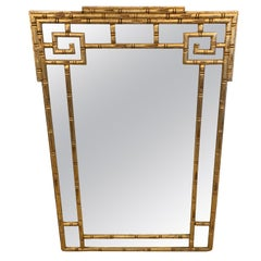 Sophisticated Giltwood Greek Key Faux Bamboo Wall Mirror