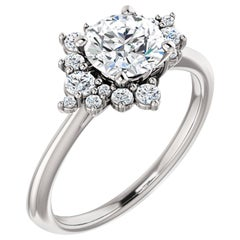 Sophisticated Halo Diamond Accented Round GIA Certified Engagement Ring