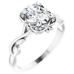 Sophisticated Halo Hidden Heart Oval GIA Certified Diamond Engagement Ring