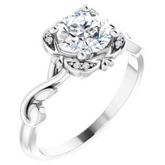 Sophisticated Halo Hidden Heart Round Brilliant GIA Certified Engagement Ring