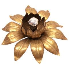 Sophisticated Hans Kögl Style Brass Flower Flushmount